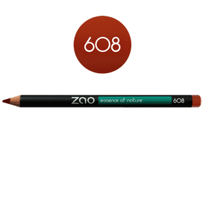 This image shows the ZAO Cosmetics and ZAO Natural Organic Mineral Vegan Cruelty-Free (like Inika, Bobbi Brown and Nude By Nature) and Refillable Bamboo Makeup Australia Online Retail Store Pencil Orange Brown 608