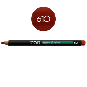 This image shows the ZAO Cosmetics and ZAO Natural Organic Mineral Vegan Cruelty-Free (like Inika, Bobbi Brown and Nude By Nature) and Refillable Bamboo Makeup Australia Online Retail Store Pencil Coppered Red 610