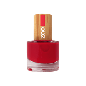 This image shows the ZAO Cosmetics and ZAO Natural Organic Mineral Vegan Cruelty-Free (like Inika, Bobbi Brown and Nude By Nature) and Refillable Bamboo Makeup Australia Online Retail Store Nail Polish Carmin Red 650