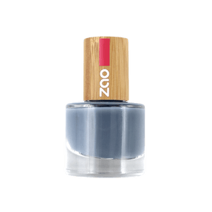 This image shows the ZAO Cosmetics and ZAO Natural Organic Mineral Vegan Cruelty-Free (like Inika, Bobbi Brown and Nude By Nature) and Refillable Bamboo Makeup Australia Online Retail Store Nail Polish Blue Grey 670