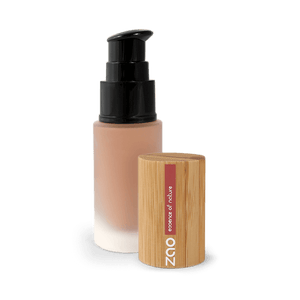This image shows the ZAO Cosmetics and ZAO Natural Organic Mineral Vegan Cruelty-Free (like Inika, Bobbi Brown and Nude By Nature) and Refillable Bamboo Makeup Australia Online Retail Store Fluid Foundation - Bamboo Case Product Cappuccino 705