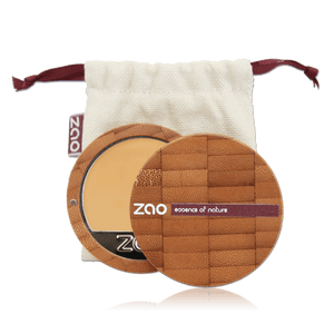 This image shows the ZAO Makeup  Cream Compact Foundation - Bamboo Case Product Very Light Ochre 728