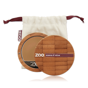 This image shows the ZAO Makeup  Cream Compact Foundation - Bamboo Case Product Cappuccino 734