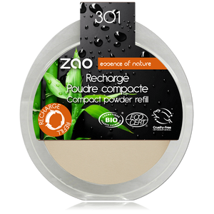 This image shows the ZAO Cosmetics and ZAO Natural Organic Mineral Vegan Cruelty-Free (like Inika, Bobbi Brown and Nude By Nature) and Refillable Bamboo Makeup Australia Online Retail Store Compact Powder  - Refill Ivory 301