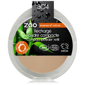 This image shows the ZAO Cosmetics and ZAO Natural Organic Mineral Vegan Cruelty-Free (like Inika, Bobbi Brown and Nude By Nature) and Refillable Bamboo Makeup Australia Online Retail Store Compact Powder  - Refill Cappuccino 304