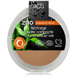 This image shows the ZAO Cosmetics and ZAO Natural Organic Mineral Vegan Cruelty-Free (like Inika, Bobbi Brown and Nude By Nature) and Refillable Bamboo Makeup Australia Online Retail Store Compact Powder  - Refill Milk Chocolate 305