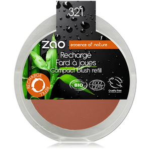 This image shows the ZAO Cosmetics and ZAO Natural Organic Mineral Vegan Cruelty-Free (like Inika, Bobbi Brown and Nude By Nature) and Refillable Bamboo Makeup Australia Online Retail Store Blush - Refill Brown Orange 321