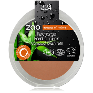 This image shows the ZAO Cosmetics and ZAO Natural Organic Mineral Vegan Cruelty-Free (like Inika, Bobbi Brown and Nude By Nature) and Refillable Bamboo Makeup Australia Online Retail Store Blush - Refill Brick Red 324