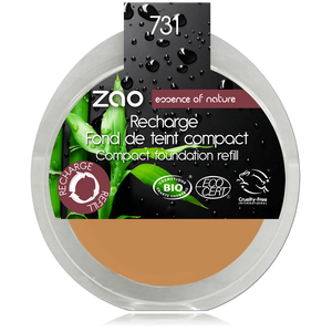 This image shows the ZAO Cosmetics and ZAO Natural Organic Mineral Vegan Cruelty-Free (like Inika, Bobbi Brown and Nude By Nature) and Refillable Bamboo Makeup Australia Online Retail Store Cream Compact Foundation - Refill Apricot 731