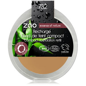 This image shows the ZAO Cosmetics and ZAO Natural Organic Mineral Vegan Cruelty-Free (like Inika, Bobbi Brown and Nude By Nature) and Refillable Bamboo Makeup Australia Online Retail Store Cream Compact Foundation - Refill Rose Petal 732