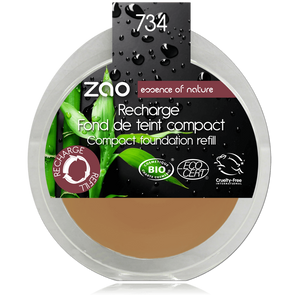 This image shows the ZAO Cosmetics and ZAO Natural Organic Mineral Vegan Cruelty-Free (like Inika, Bobbi Brown and Nude By Nature) and Refillable Bamboo Makeup Australia Online Retail Store Cream Compact Foundation - Refill Cappuccino 734