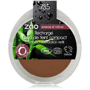This image shows the ZAO Cosmetics and ZAO Natural Organic Mineral Vegan Cruelty-Free (like Inika, Bobbi Brown and Nude By Nature) and Refillable Bamboo Makeup Australia Online Retail Store Cream Compact Foundation - Refill Chocolate 735
