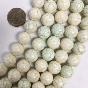 "14mm round, ivory white green blue crackle, vintage lucite beads,  sold per 16"" strand"