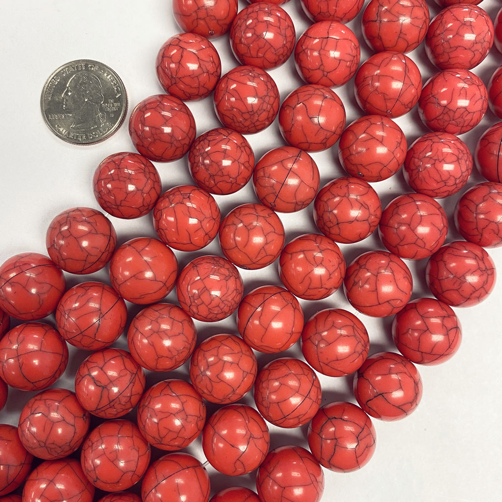 16mm round, coral darker crackle, vintage lucite beads,  sold per 16