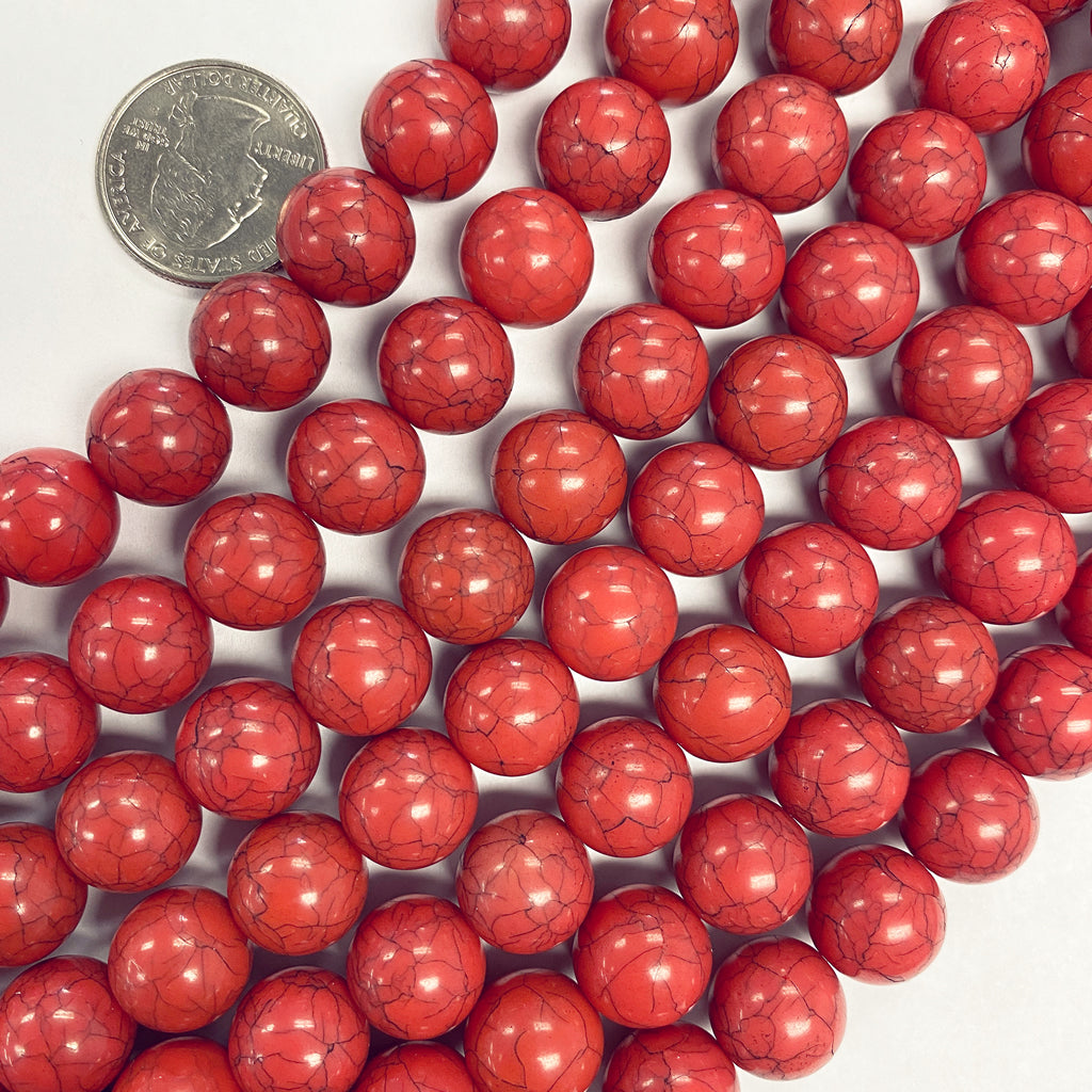 12mm round, coral darker crackle, vintage lucite beads,  sold per 16