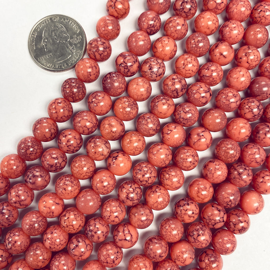 8mm round, coral darker painted splatter, vintage lucite beads,  sold per 16