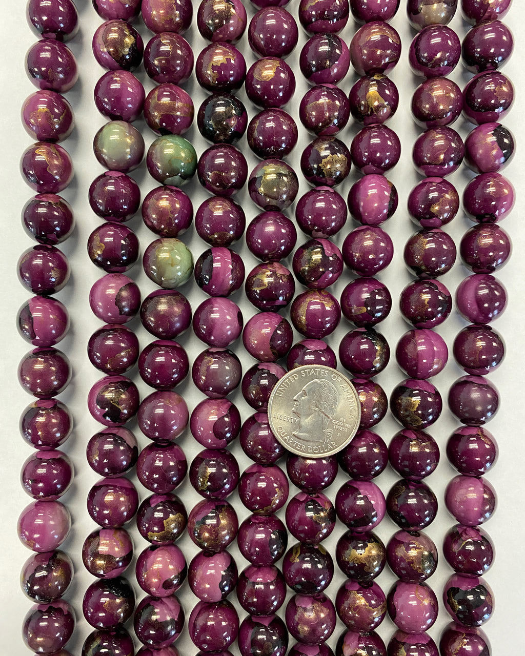 13mm round, painted red purple mint green gold, vintage lucite beads,  sold per 16