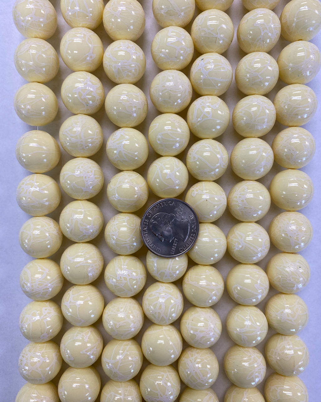 18mm round, custard yellow, painted white, vintage lucite beads,  sold per 16