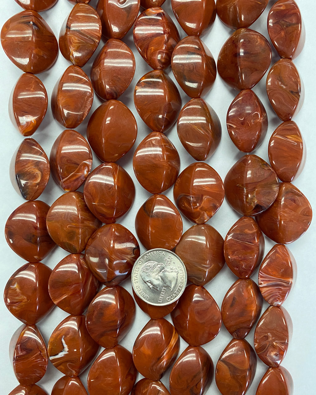 27x24x14mm bump oval, red brown white black swirl, vintage lucite beads,  sold per 16
