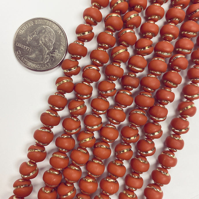 8mm nugget, matte pumpkin orange antique gold trim vintage lucite beads,  sold per 16