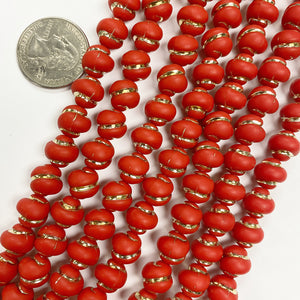 "10mm nugget, matte red orange antique gold trim vintage lucite beads,  sold per 16"" strand"