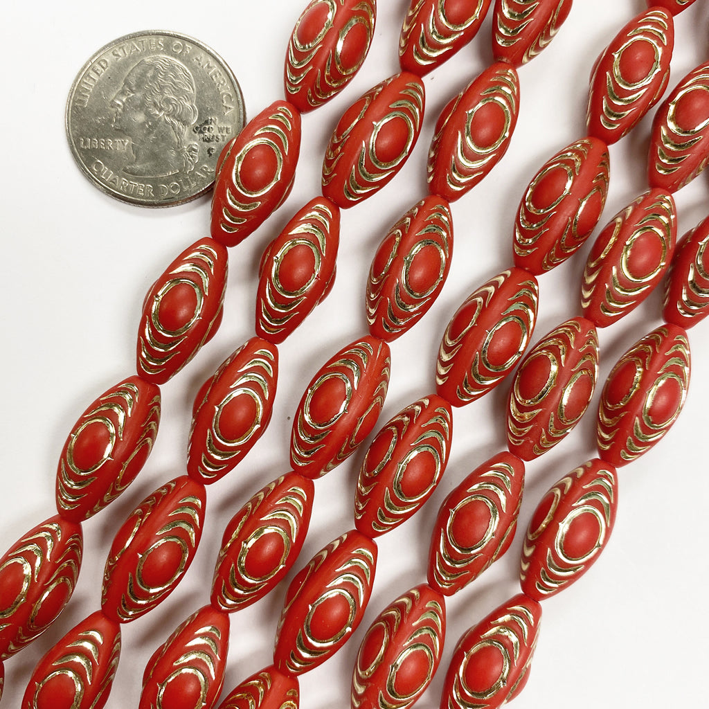 19x10mm four sided tube, matte red orange antique gold trim vintage lucite beads,  sold per 16
