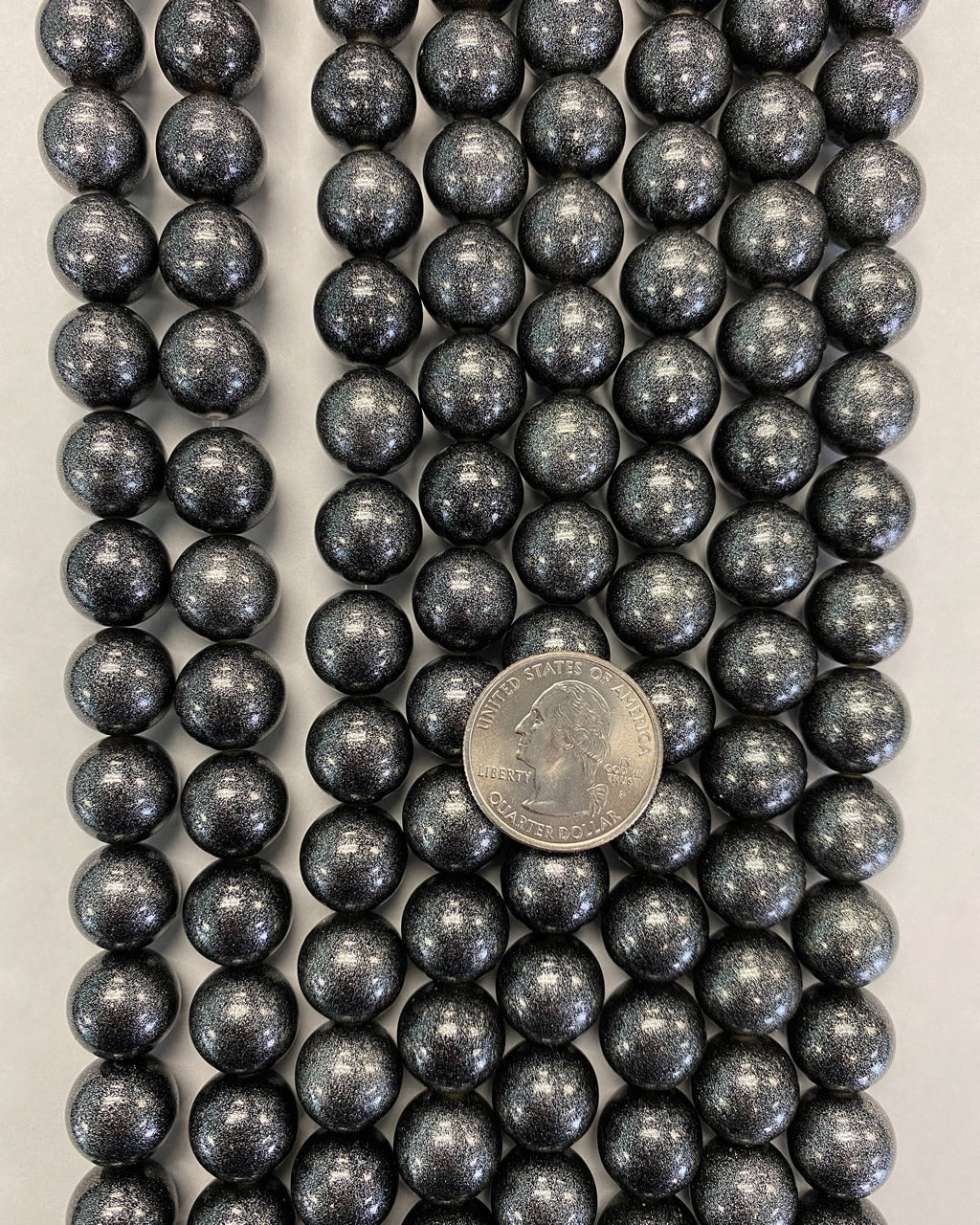 13mm round, painted glitter silver black, vintage lucite beads,  sold per 16