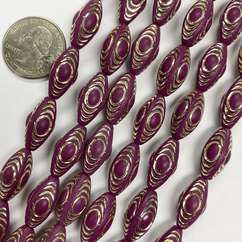 19x10mm four sided tube, matte grape purple antique gold trim vintage lucite beads,  sold per 16