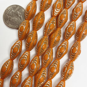 "19x10mm four sided tube, matte pumpkin orange antique gold trim vintage lucite beads,  sold per 16"" strand"