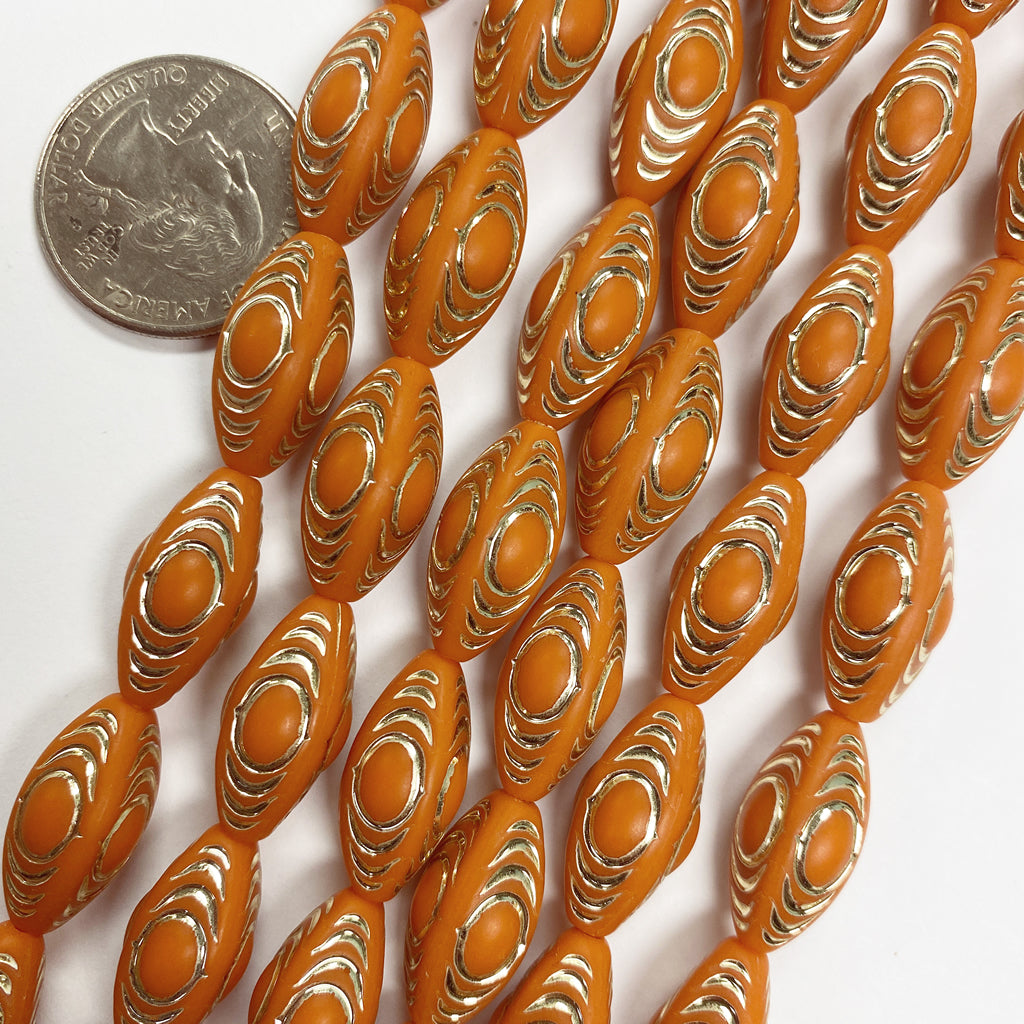 19x10mm four sided tube, matte pumpkin orange antique gold trim vintage lucite beads,  sold per 16