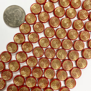 "12x2mm coin, red orange spiral antique gold trim vintage lucite beads,  sold per 16"" strand"