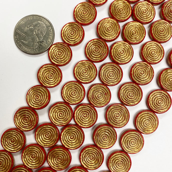 14x2mm coin, red orange spiral antique gold trim vintage lucite beads,  sold per 16