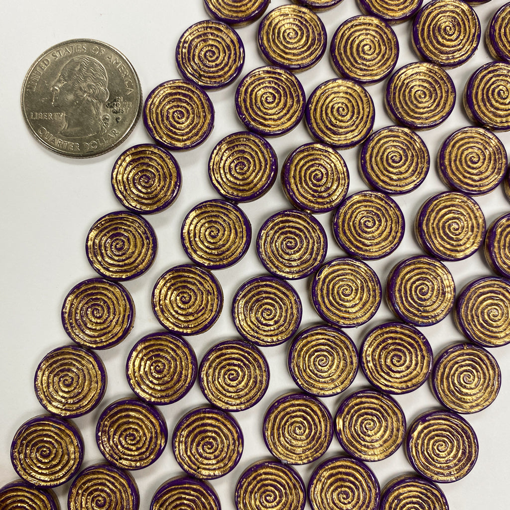 14x2mm coin, grape purple spiral antique gold trim vintage lucite beads,  sold per 16