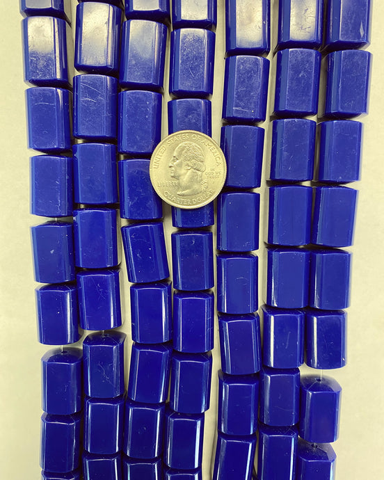 19x14x14mm 4 sided tube, surface wear, vibrant blue, vintage lucite beads,  sold per 16