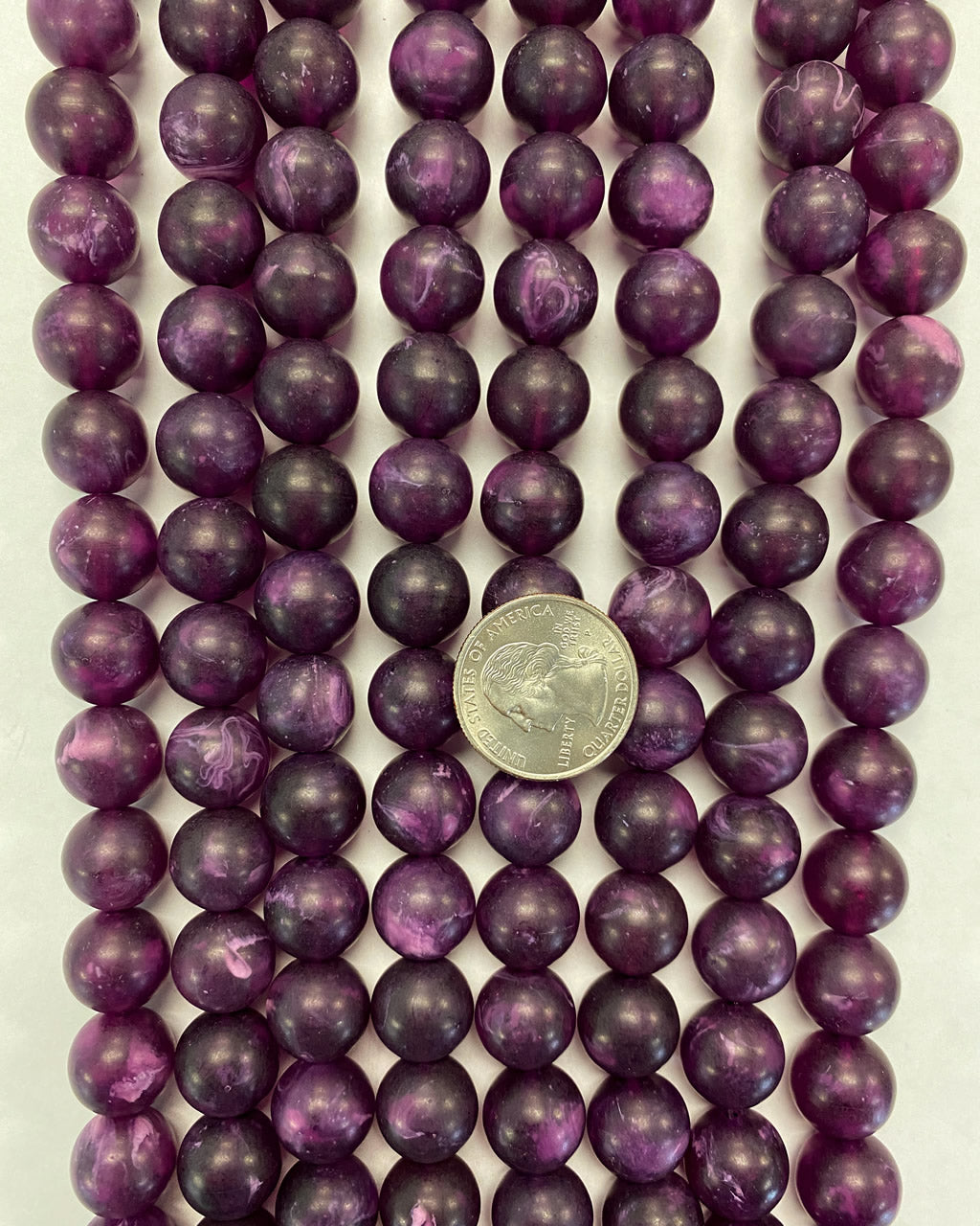 14mm round, matte purple white swirl, vintage lucite beads,  sold per 16