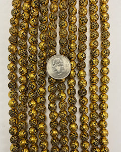 "9mm carved rose round, gold plated, vintage lucite beads,  sold per 16"" strand"