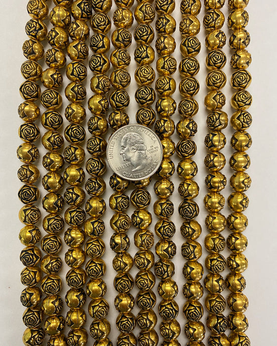 9mm carved rose round, gold plated, vintage lucite beads,  sold per 16