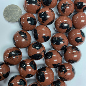 "20mm round, red brown black spot vintage lucite beads,  sold per 16"" strand"