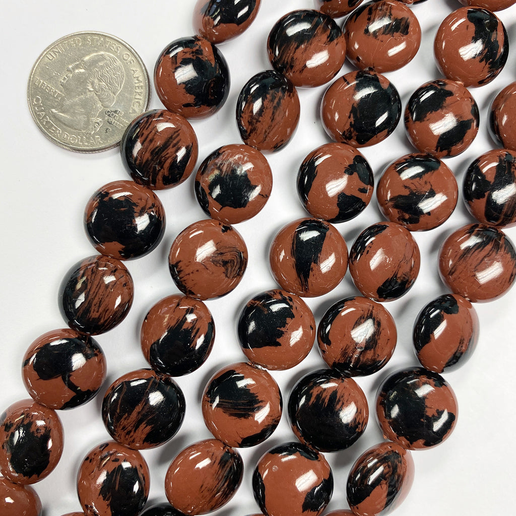 14x14x6mm puff coin, red brown black spot vintage lucite beads,  sold per 16