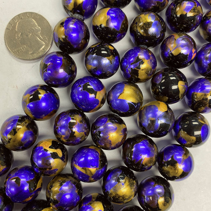 16mm round, painted royal purple gold and black vintage lucite beads,  sold per 16