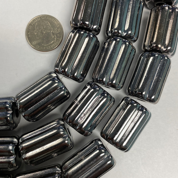 28x20mm ridged tube, hematite plated, vintage lucite beads,  sold per 16
