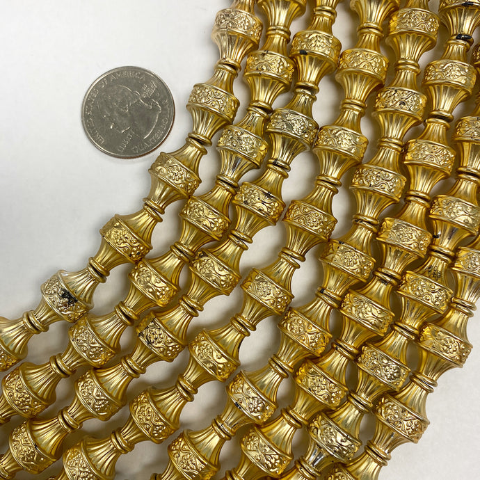 18x12mm floral carved tube, matte gold plated, vintage lucite beads,  sold per 16