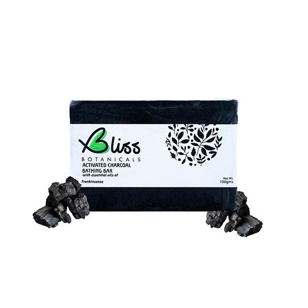 Bliss Activated Charcoal Bathing Soap - Frankincense Oil, 100gm