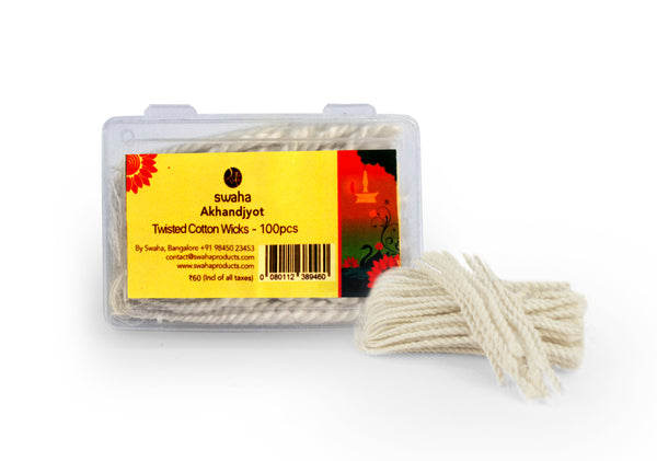 Swaha Akhandjyot Cotton Long Wicks, 100Pc