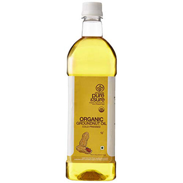 Pure & Sure Organic Ground Nut Oil, 1 LTR