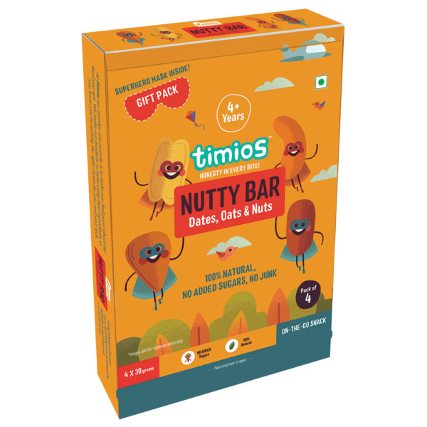 Timios Energy Bars - Nutty, 30g each Pack of 4
