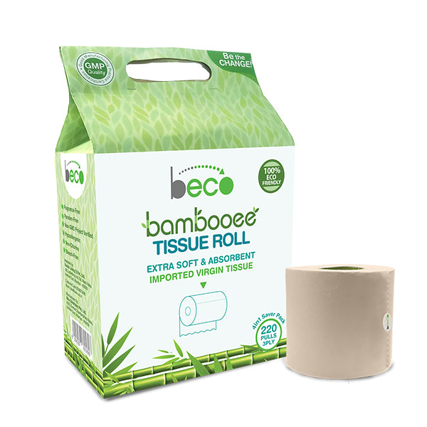 Beco Bambooee Tissue Roll (3 Ply) - 220 Pulls - Pack of 4 (Value Pack)