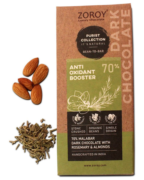 Zoroy - 70% Organic Dark Chocolate, Anti Oxidant Booster Bar With Almonds & Rosemary - 58 Gms