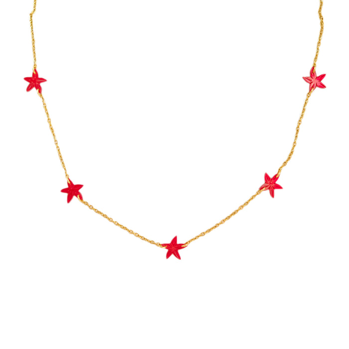 Cinque Santan Necklace in Red