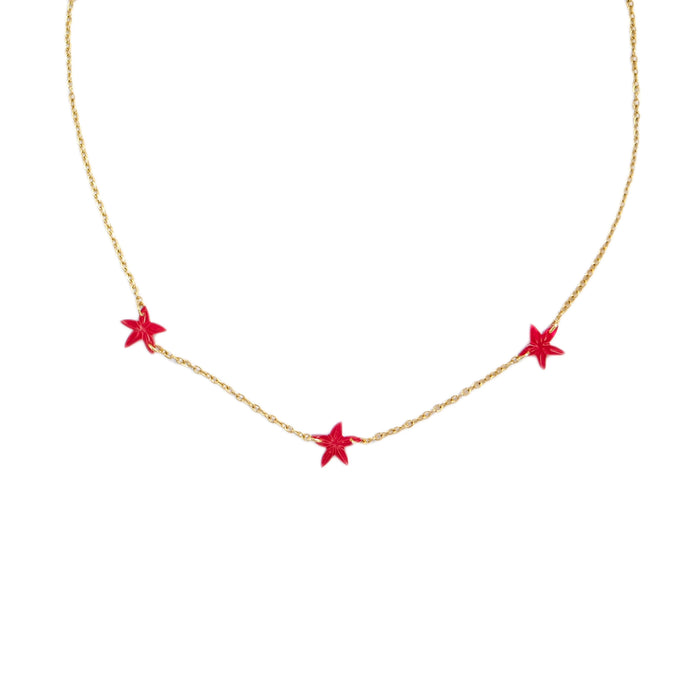 Tre Santan Necklace in Red
